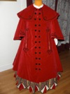 Reproduction Mid-Victorian Cloak/Coat red velveteen front