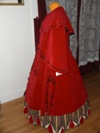 Reproduction Mid-Victorian Cloak/Coat red velveteen  left three quarter view