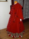 Reproduction Mid-Victorian Cloak/Coat red velveteen  left