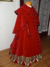 Reproduction Mid-Victorian Cloak/Coat  red velveteen right three quarter view