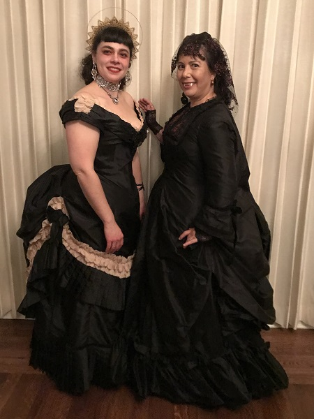 1870s Reproduction Black Watteau Bustle Dress at PEERS Vampire Ball 2019