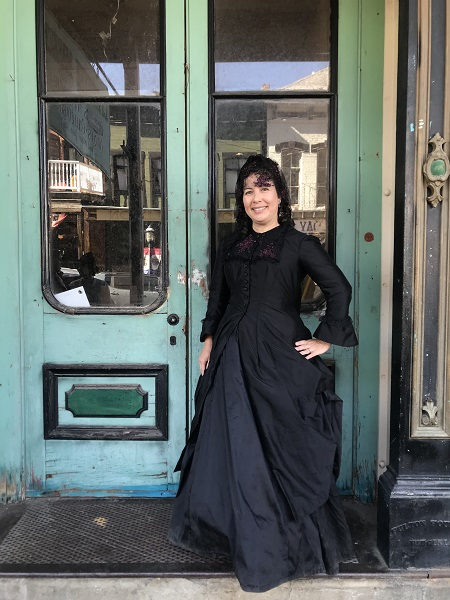1870s Reproduction Black Watteau Bustle Dress in Virginia City October 2019