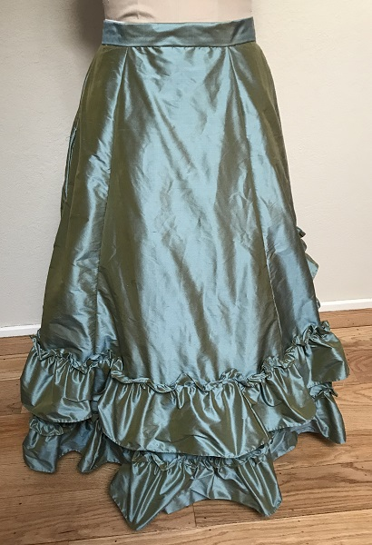 1870s Reproduction Blue Aqua Silk Underskirt Front.