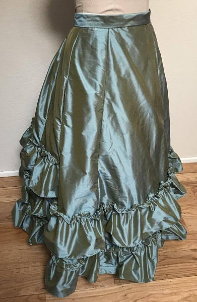 1870s Reproduction Blue Aqua Silk Underskirt Right Quarter View.