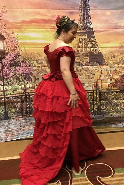 Reproduction 1870s red bustle evening dress