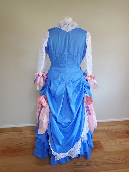 1880s Reproduction Blue Tissot Quiet Bustle Dress Back.