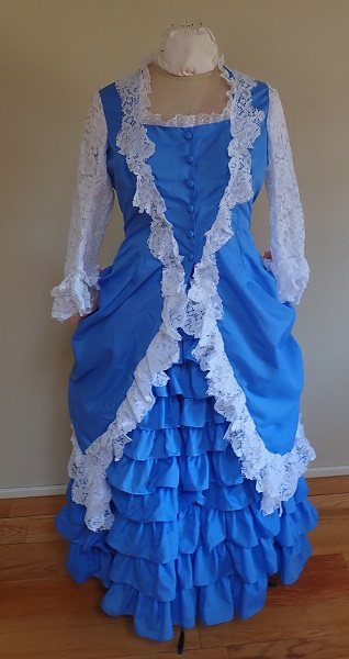 1880s Reproduction Blue Tissot Quiet Bustle Dress Front.