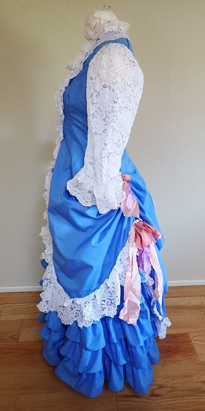 1880s Reproduction Blue Tissot Quiet Bustle Dress Left.