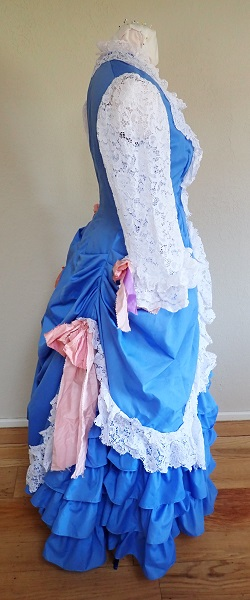 1880s Reproduction Blue Tissot Quiet Bustle Dress Right.