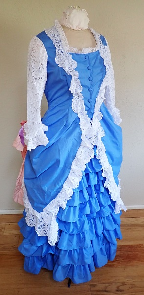 1880s Reproduction Blue Tissot Quiet Bustle Dress  Right Quarter View.