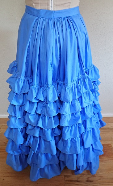 1880s Reproduction Blue Tissot Quiet Bustle Skirt Back.