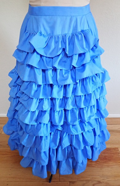 1880s Reproduction Blue Tissot Quiet Bustle Skirt Front.