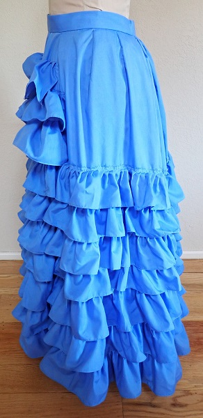 1880s Reproduction Blue Tissot Quiet Bustle Skirt Left.