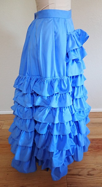 1880s Reproduction Blue Tissot Quiet Bustle Skirt Right.