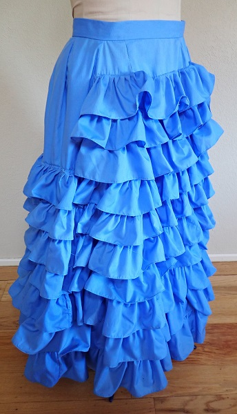 1880s Reproduction Blue Tissot Quiet Bustle Skirt Right Quarter View.