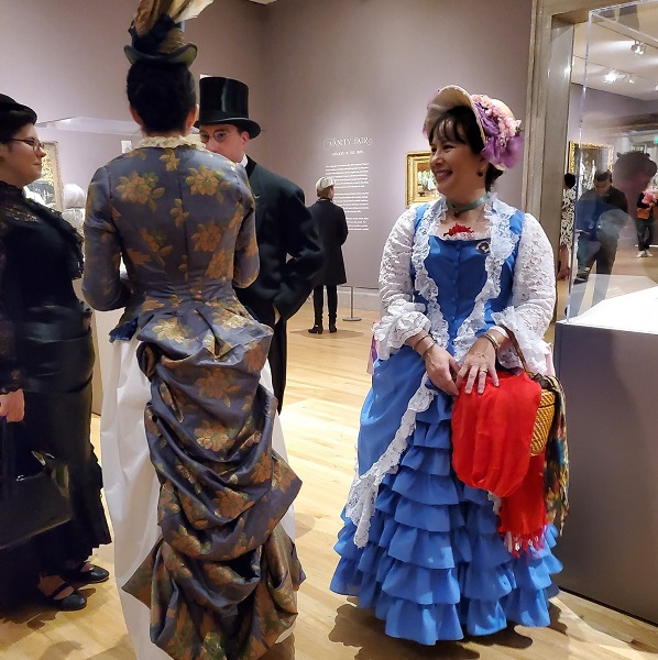 1880s Reproduction Blue Tissot Quiet Bustle Dress at the Legion of Honor February 2020. Photo by Sara McKee