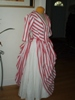 Reproduction 1887 Red Stripe Bustle Dress: quarter view