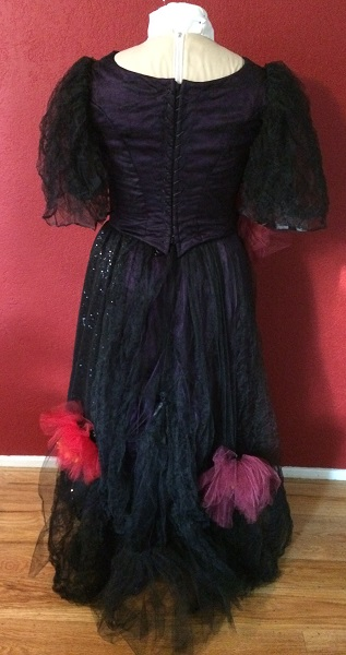1890s Reproduction Black Tulle Ball Gown Dress Back.