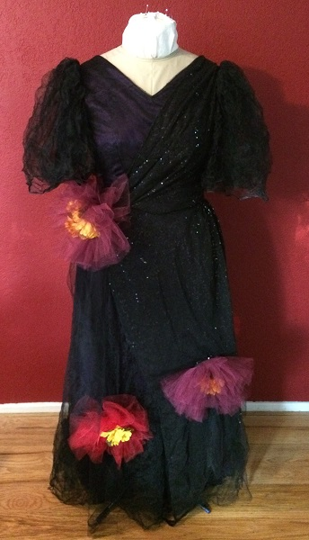 1890s Reproduction Black Tulle Ball Gown Dress Front.