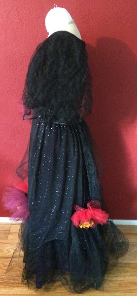 1890s Reproduction Black Tulle Ball Gown Dress Left.