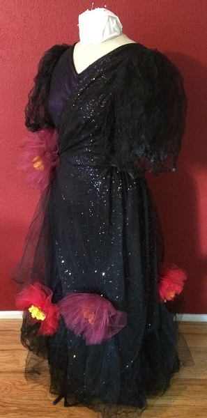 1890s Reproduction Black Tulle Ball Gown Dress Left Quarter View.