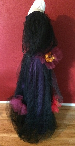 1890s Reproduction Black Tulle Ball Gown Dress Right.