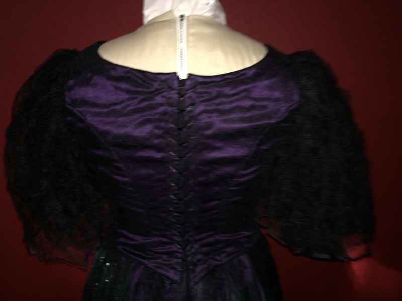 1890s Reproduction Black Tulle Ball Gown Bodice Back