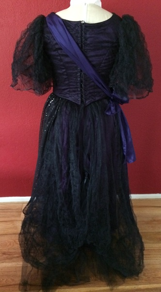 1890s Reproduction Black Tulle Ball Gown Dress trimmed with purple Back.
