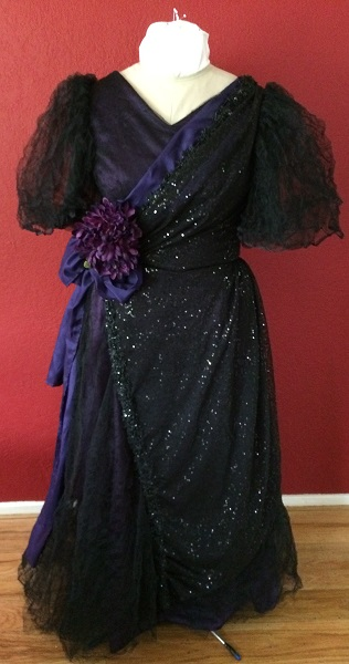 1890s Reproduction Black Tulle Ball Gown Dress trimmed with purple Front.