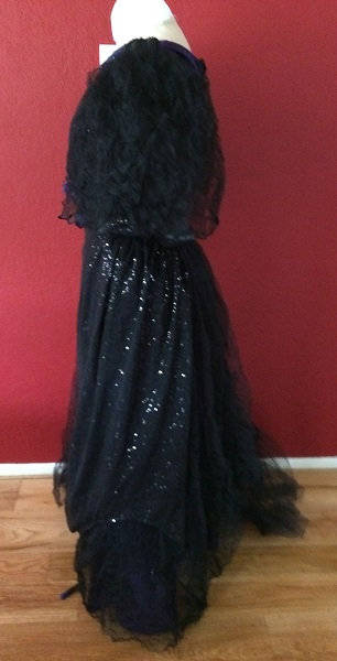 1890s Reproduction Black Tulle Ball Gown Dress trimmed with purple Left.