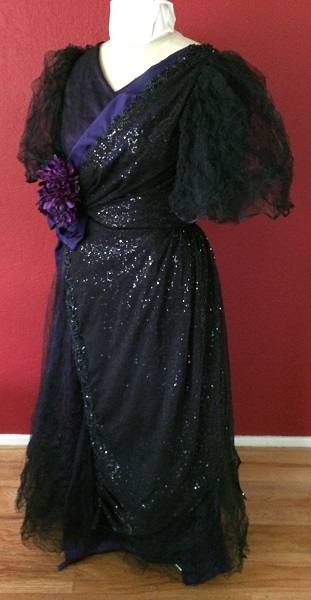 1890s Reproduction Black Tulle Ball Gown Dress trimmed with purple Left Quarter View.