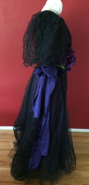 1890s Reproduction Black Tulle Ball Gown Dress trimmed with purple Right.