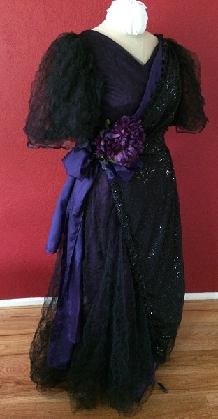 1890s Reproduction Black Tulle Ball Gown Dress trimmed with purple Right Quarter View.