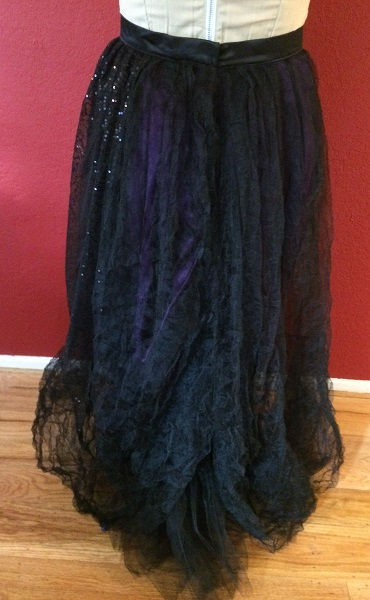 1890s Reproduction Black Tulle Ball Gown Skirt Back.