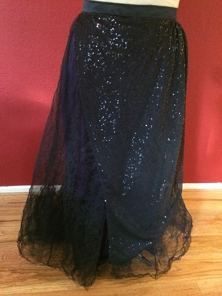 1890s Reproduction Black Tulle Ball Gown Skirt Front.