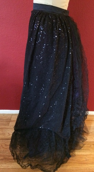 1890s Reproduction Black Tulle Ball Gown Skirt Left.