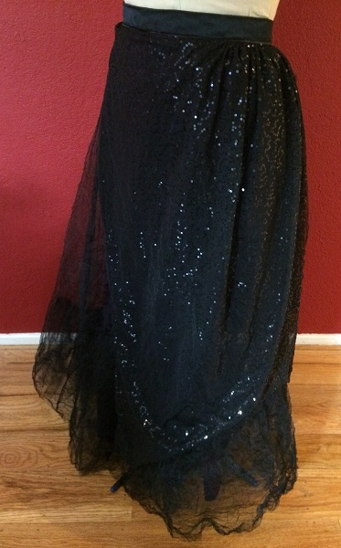 1890s Reproduction Black Tulle Ball Gown Skirt Left Quarter View.
