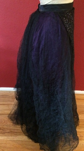 1890s Reproduction Black Tulle Ball Gown Skirt Right.