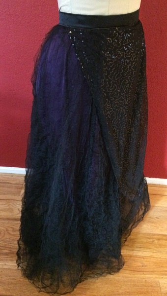 1890s Reproduction Black Tulle Ball Gown Skirt Right Quarter View.