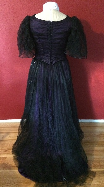 1890s Reproduction Black Tulle Ball Gown Dress  with Train Back.
