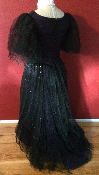 1890s Reproduction Black Tulle Ball Gown Dress  with Train Back Left Quarter View.