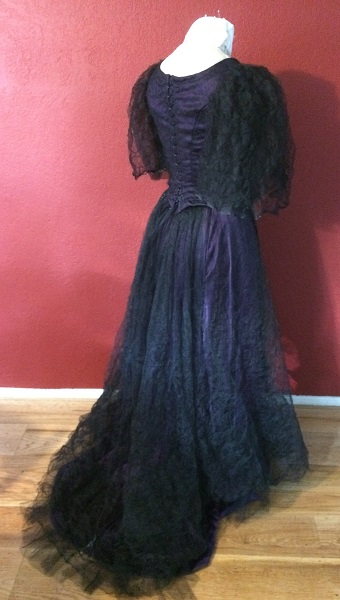 1890s Reproduction Black Tulle Ball Gown Dress with Train Back Right Quarter View.