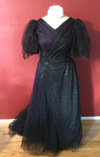 1890s Reproduction Black Tulle Ball Gown Dress with Train Front.
