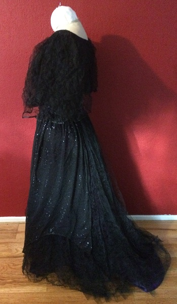 1890s Reproduction Black Tulle Ball Gown Dress  with Train Left.