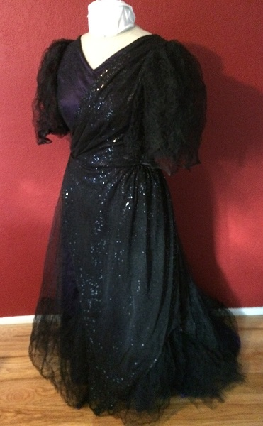 1890s Reproduction Black Tulle Ball Gown Dress with Train  Left Quarter View.