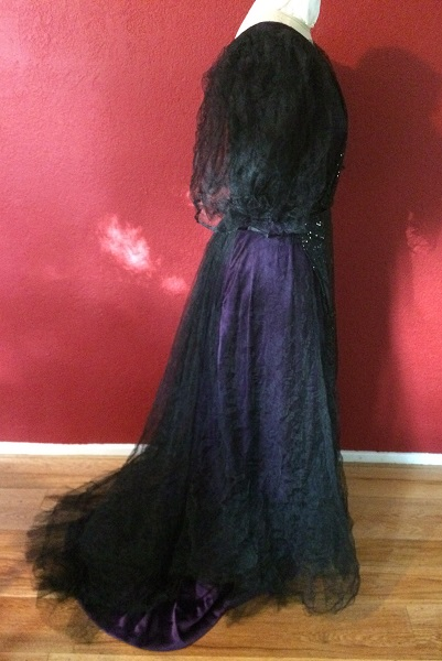 1890s Reproduction Black Tulle Ball Gown Dress with Train  Right.