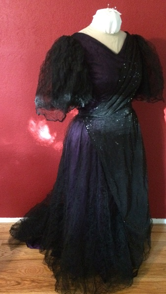 1890s Reproduction Black Tulle Ball Gown Dress  with Train  Right Quarter View.