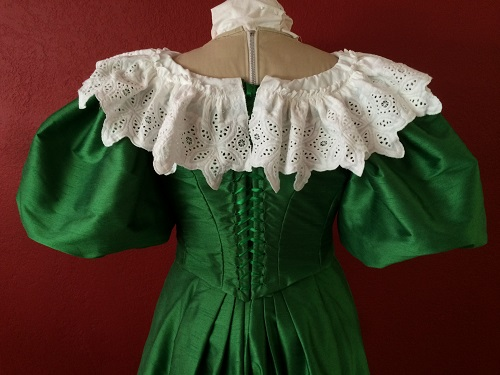 1890s Reproduction Green Ball Gown Bodice Back