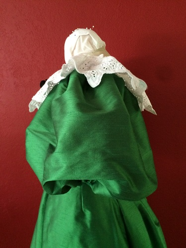 1890s Reproduction Green Ball Gown Bodice Left Quarter.