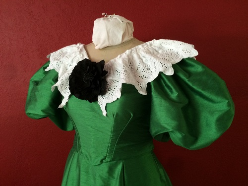 Inside view of 1890s Reproduction Green Ball Gown Bodice Left.
